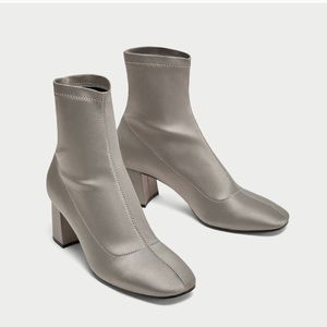 Zara satin ankle boots with chunky heel